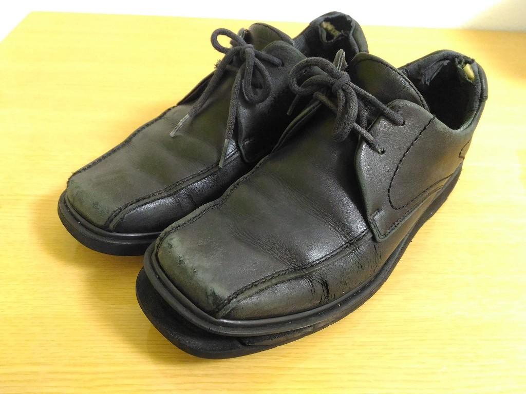 黒い革靴 修理前
