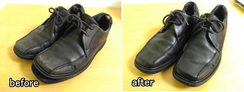 革靴 修理前 修理後 全体