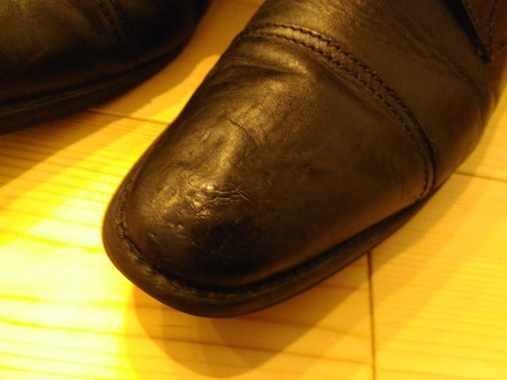 革靴 へこみ 修理 途中経過