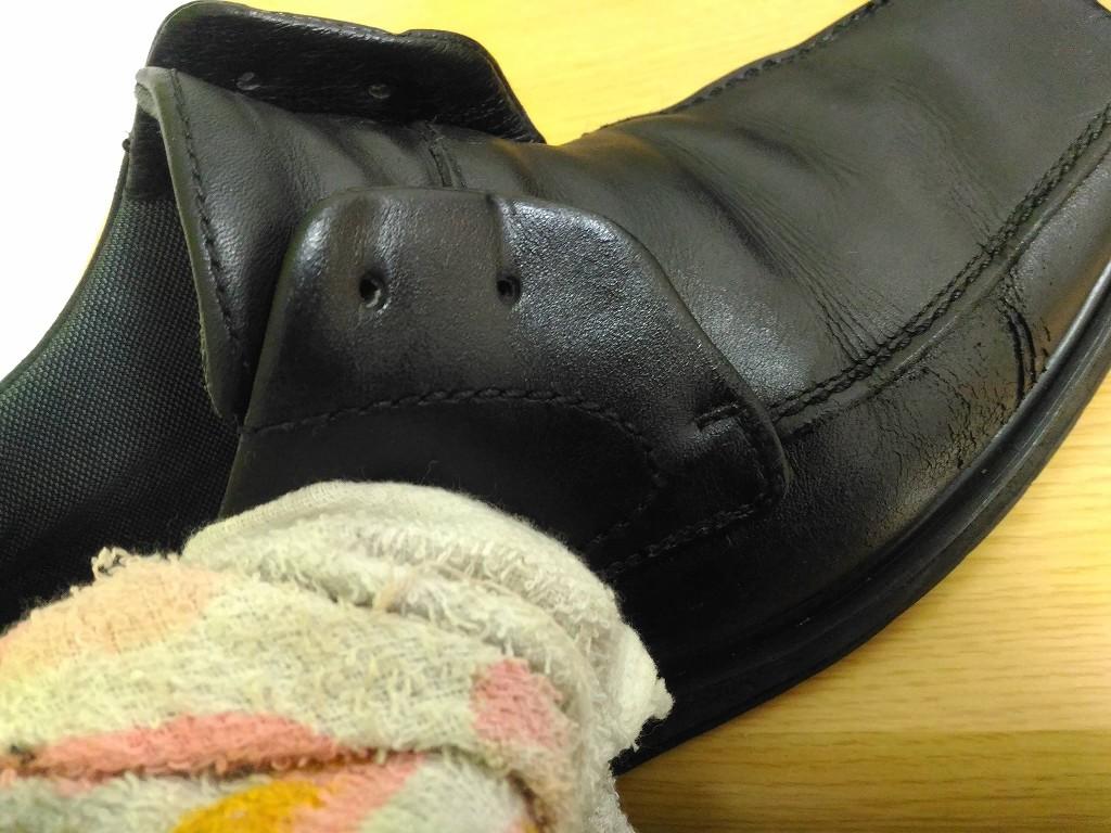 革靴 クリーム タオルで磨く