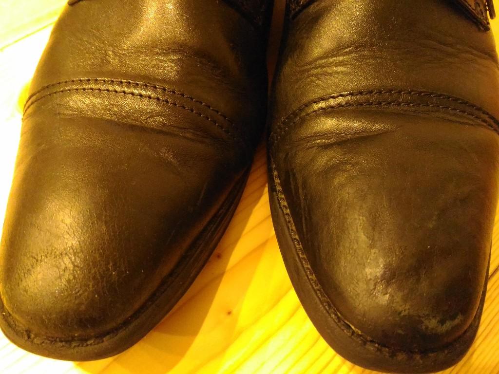 革靴 へこみ修理 途中経過