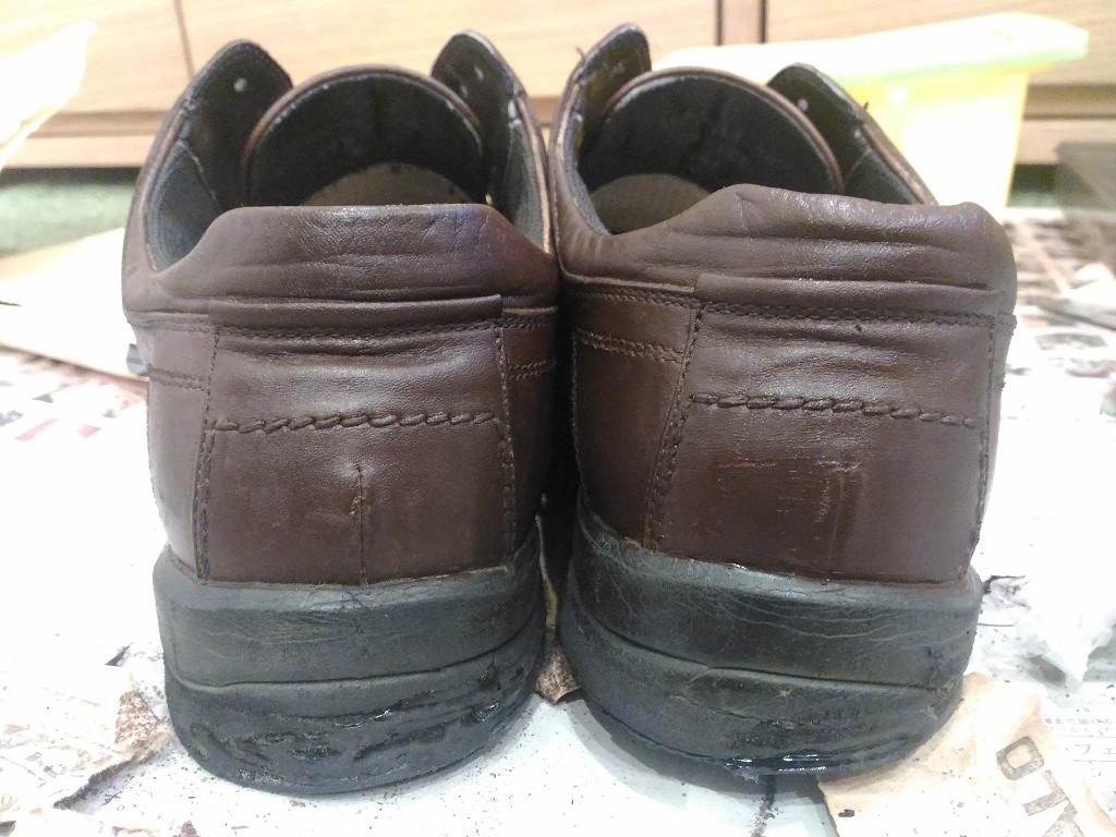 革靴 リカラー 塗り終わり 後ろ