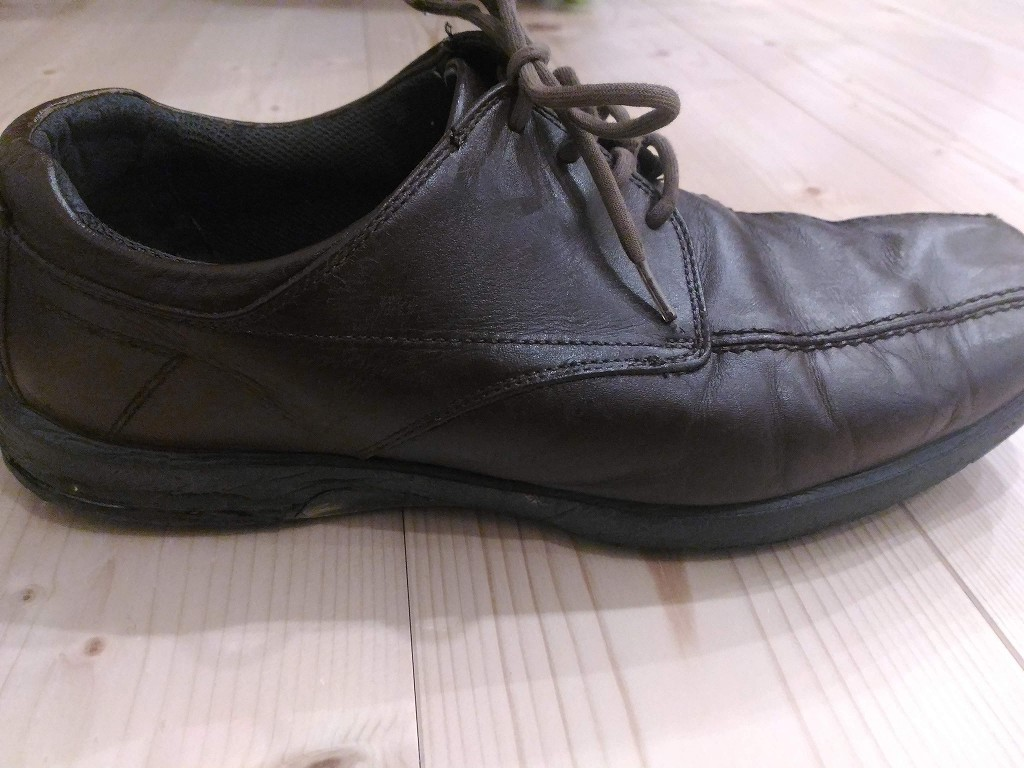 革靴 茶色 染め替え リカラー 完成 横